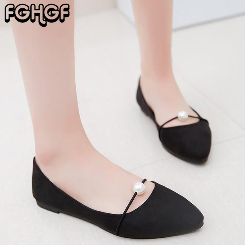 Women's Ballet Flats Pearl Flat Shoes Woman Pointed Shallow Casual Shoes New Summer Women Flat Heel Slip On zapatos mujer Y47 new 2017 spring summer women flats shoes genuine leather flat heel pointed toe black red shoes woman slip on casual flat shoes