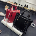 Women Bag Handbags Over Shoulder Crossbody Sling Girl Leather Tote Rivet Tassel Black Small Knitting Motorcycle Lady Bolsas Sale