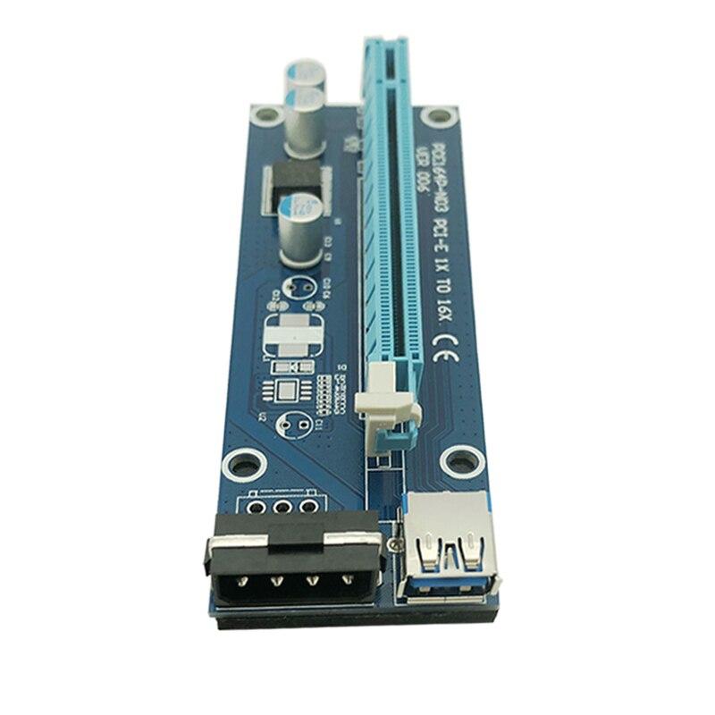 6 pièces Pci-e Extender Pci Express Riser Card 1x À 16x60 cm Usb 3.0 Câble Sata À 4pin molex Pour Mineur Btc Machine