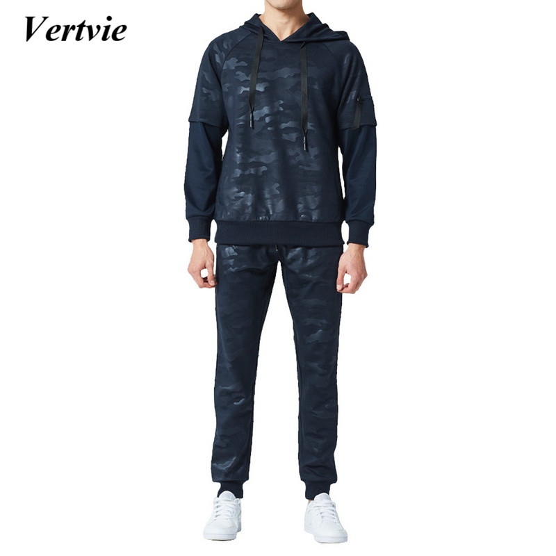 2018 Men Tracksuit Sport Set Hooded Workout Sportswear 2 Pieces Yoga Sportsuit Camouflage Sweatsuit Male Pullover Hoodies+Pants
