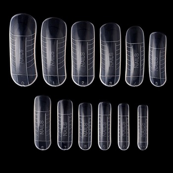 120Pcs/lot Clear French Full Cover Acrylic Nail Mold With Scale Tools False Nail Art Tips For Poly Gel 1