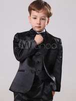 Dark Red Kid's Velvet Formal Tuxedos Shawl Lapel One Buttons Black Pants For Boy's Formal Wear Winter Clothing for Kids