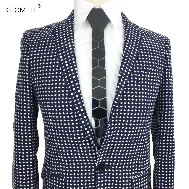 GEOMETIE Ręcznie Geometryczny Kształt Sześciokątny Skinny Honeycomb Krawat Titanium Czarny Błyszczący Lustro Akrylowy Moda Krawat