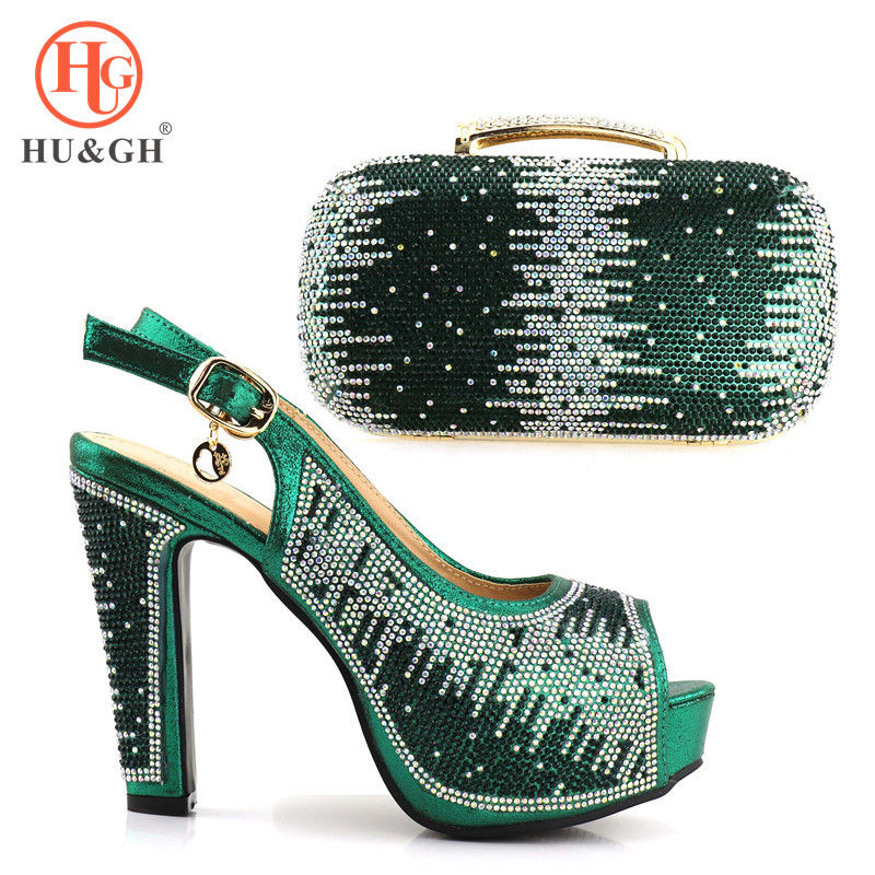New Green Color 2018 African Shoes And Bag Set In Italy Design High Heels Women Shoes And Bag To Match For Fashion Wedding Party стоимость