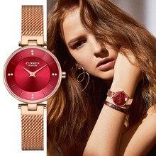 Relojes de lujo de marca CURREN a la moda para mujer, correa de malla de oro rosa, reloj de cuarzo para mujer, reloj minimalista resistente al agua con diamantes de imitación para mujer