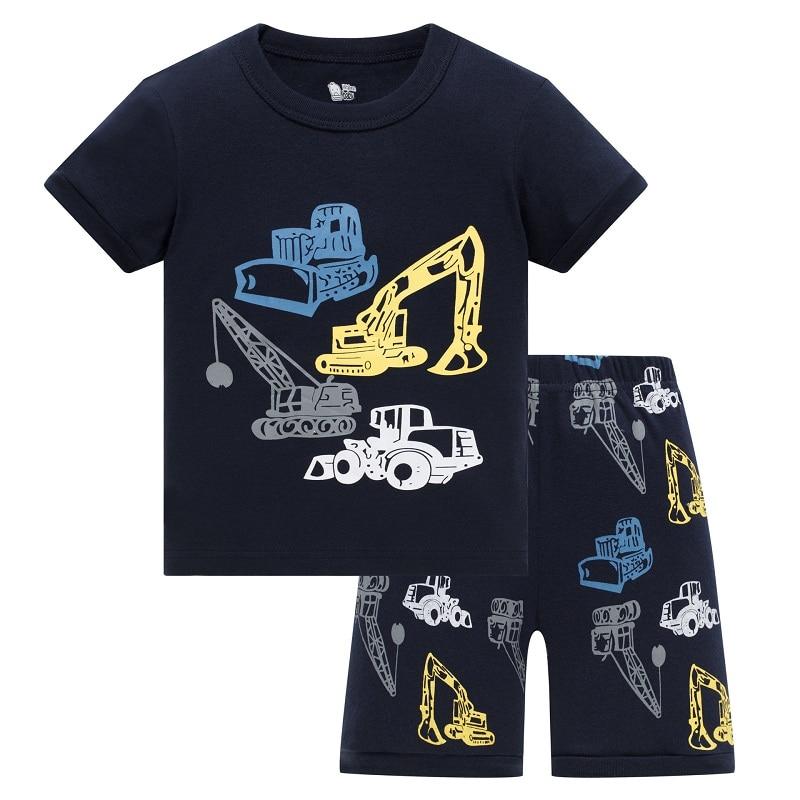 New Summer Children boys   pajamas  , 100% Cotton short sleeve T shirt + shorts, sleepwear/clothing   sets   for 2-7 year