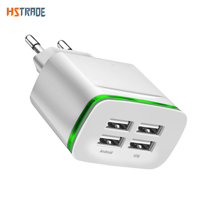 4 port USB laddare adapter 4A laddningslampa LED lampa plug multi port HUB laddare till iPhone iPad Samsung Xiaomi redmi