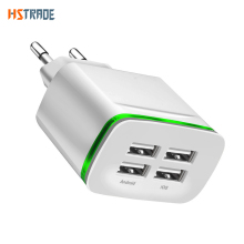 цена на Universal 4 port USB charger adapter 4A travel charge LED lamp plug multi port HUB charger For iPhone iPad Samsung Xiaomi redmi