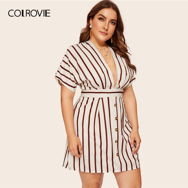 COLROVIE Plus Size Beige Deep V-Neck Striped Dress Women 2019 Summer Boho Short Sleeve A Line Office Ladies Fit And Flare Dress 2