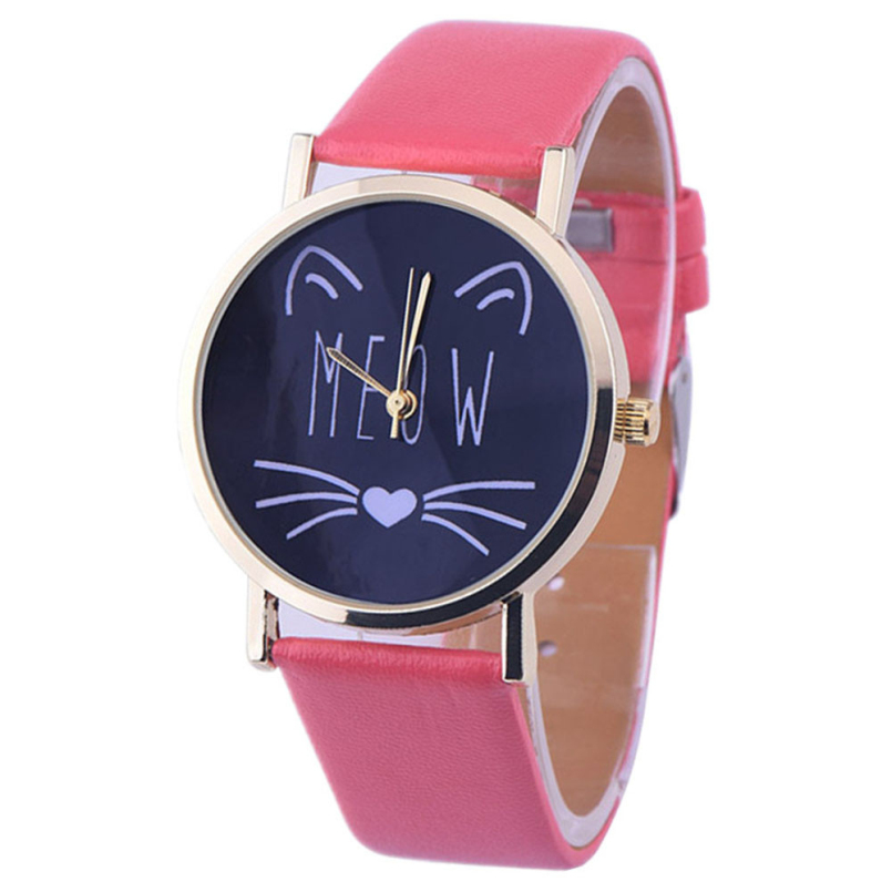 Excellent Quality Top Brand Women Casual Watch Little Cat Pattern Wristwatch for Girl Students Quartz Watch Clock Hours relojes