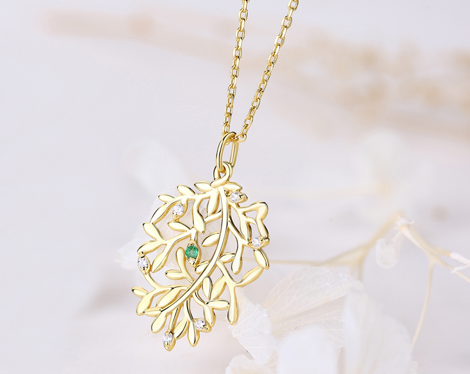 ALLNOEL Luxury Natural Emerald Pendant Real 925 Sterling Silver Leaf Necklaces For Women Link Chain Jewelry Engagement Gift New  (5)