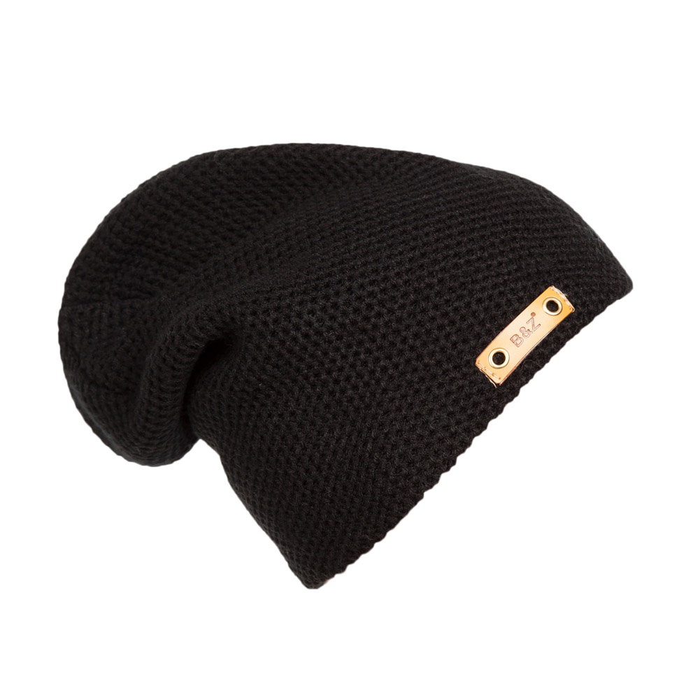 New Fashion Solid Color Leather Label Winter Warm Sport Knitting Hat Hip Hop Caps For Men And Women Bonnet Beanies LB