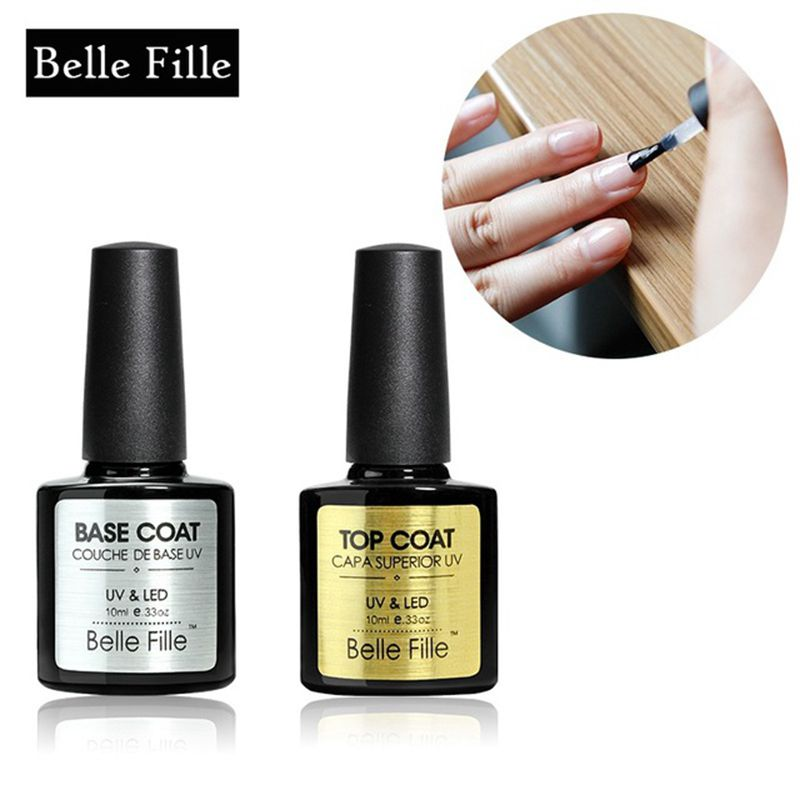 BELLE FILLE UV Nail Gel Soak off Nail Gel Polish Transparent No Wipe Top Coat Base