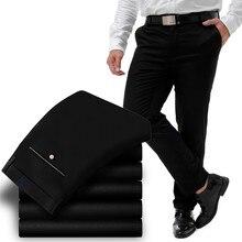 Большие размеры, Мужские штаны, очень эластичные ультратонкие повседневные классические брюки, хлопковые большие повседневные длинные брюки, размер 31-52