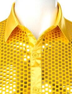 Image 4 - Chemise luxueuse, manches longues, soie, paillettes, Chemise de soirée en Satin brillant, Chemise de soirée, Chemise sur scène, danse, boîte de nuit, Costume de bal