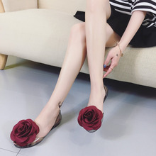 2018 jelly sandals female summer rose flower transparent shoes fish mouth slip flat beach