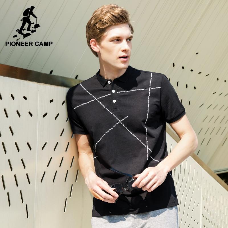 10a346012 Pioneer camp nova moda preto polo camisas homens roupas de marca manga curta  polo masculino qualidade estiramento casual polo adp705057