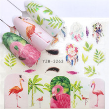 1pcs Flamingo Nail Stickers Water Decals Cute Marine Life Fruit Wraps Flora Watermark Adhesive Decoration Manicure