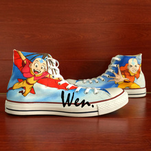 Wen Anime Hand Painted Shoes Design Custom Avatar The Last Airbender High Top Man Woman's Canvas Sneakers Boys Girls Gifts