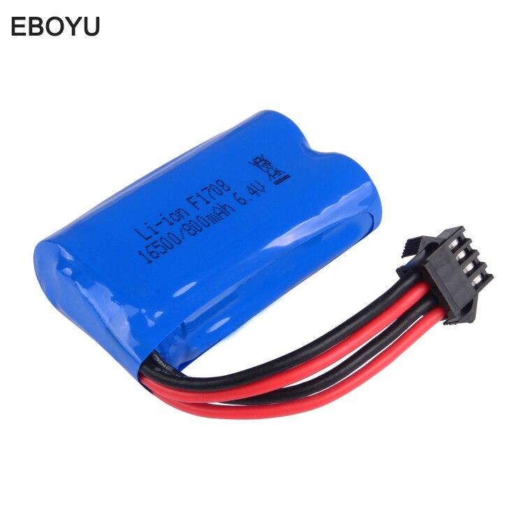 EBOYU (TM) SM (4 P) Connector Pezzi di Ricambio 6.4 V 800 MAh Lipo Batteria per WLToys 18628 18629 18428 18429 RC Auto Giocattolo