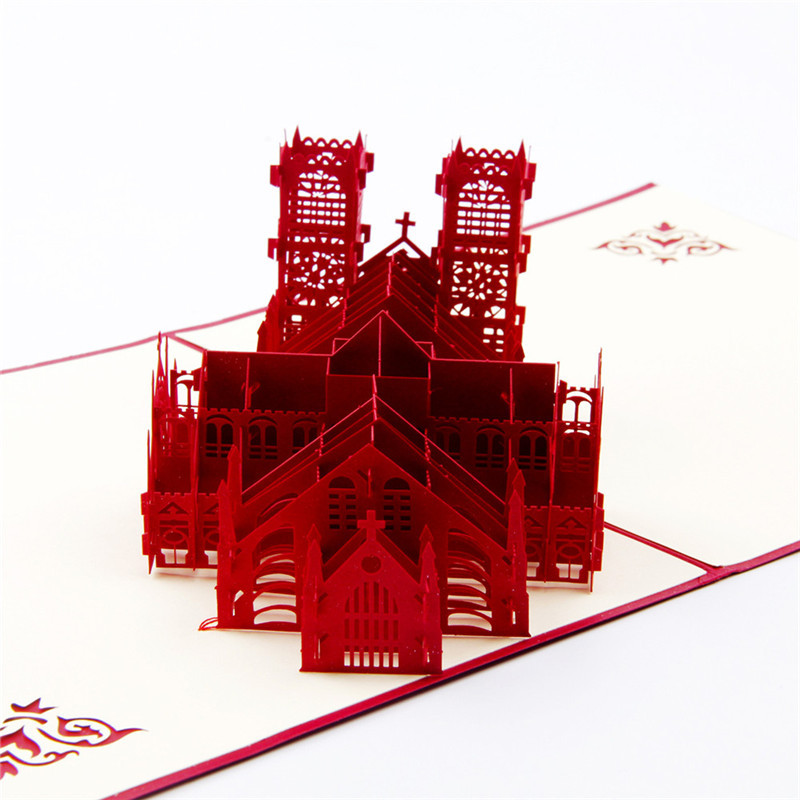 3D Westminster Cathedral Stereo Parper Cards Hollow out Postcards Carving Architecture pop up Travel Business Gift F цена и фото