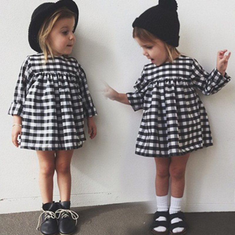 Casual Plaid Baby Dress Kid Girl Casual Long Sleeve Party Princess Dresses Children Clothes