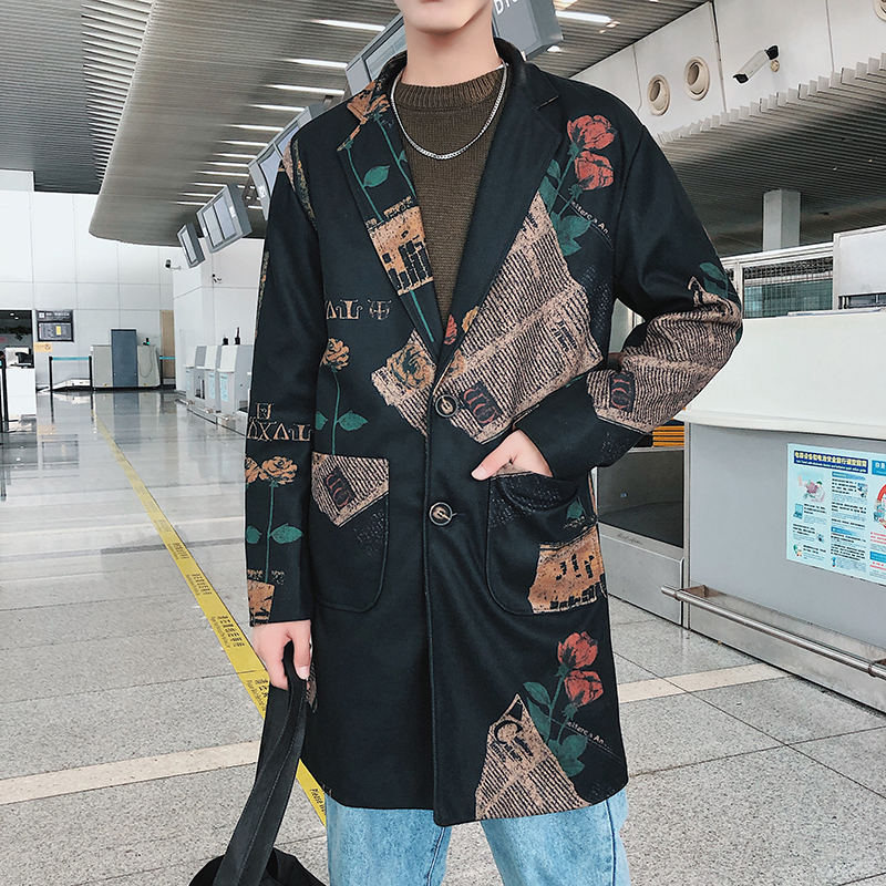 Mens Trench Coat 2019 New Fashion Printing Long Coat Autumn Winter Windbreakers Casual High-end Slim Leisure Jackets
