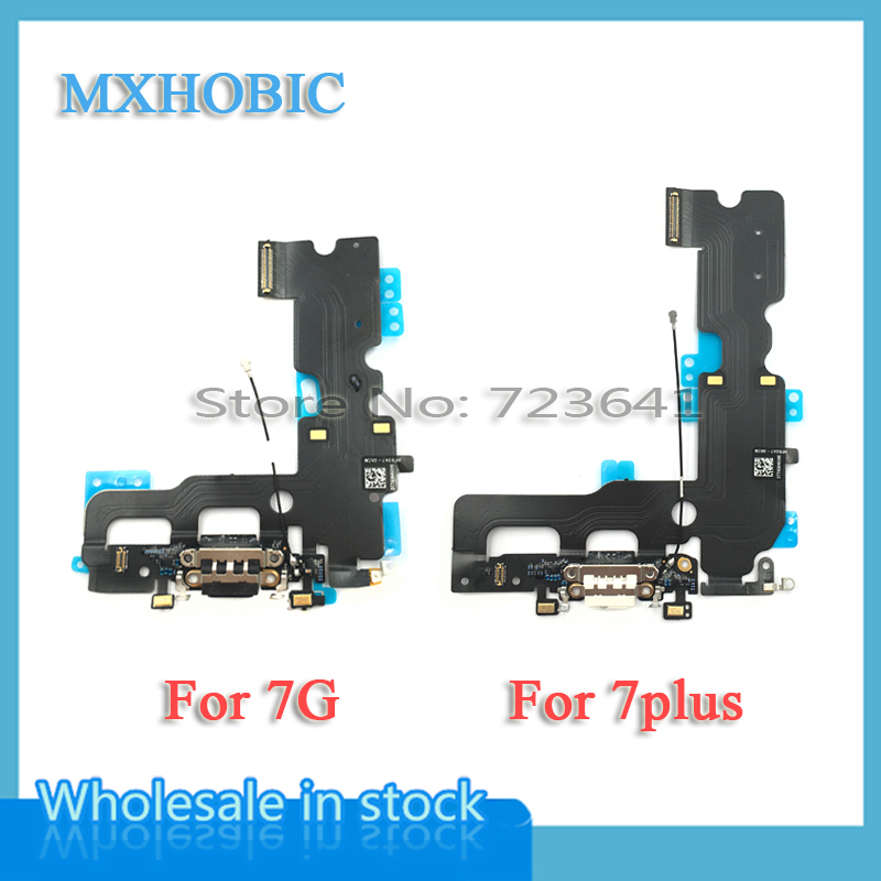MXHOBIC 10pcs/lot USB Charging Charger Port Dock Connector Flex Cable For iPhone 7 7G Plus 7P Audio Microphone Replacementconnector flex cableflex cabledock connector -