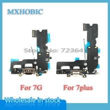 MXHOBIC 50 יח\חבילה USB טעינת מטען נמל Dock Connector Flex כבל עבור iPhone 7 7G בתוספת 7P אודיו החלפת מיקרופון