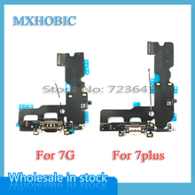 MXHOBIC 50pcs/lot USB Charging Charger Port Dock Connector Flex Cable For iPhone 7 7G Plus 7P Audio Microphone Replacement