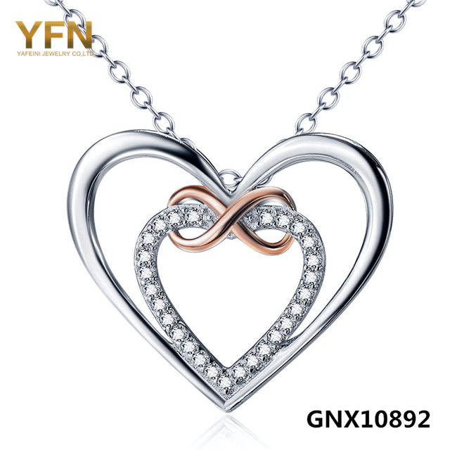 GNX10892 Genuine 925 Sterling Silver Infinito Amor Pingente de Colar Dos Namorados Presente Cubic Zirconia Colar Duplo Corações