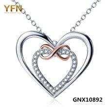 GNX10892 Auténtica plata de Ley 925 de Plata del Infinito Amor Colgante Collar Zirconia Cúbico Doble Corazones Collar de Regalo de San Valentín