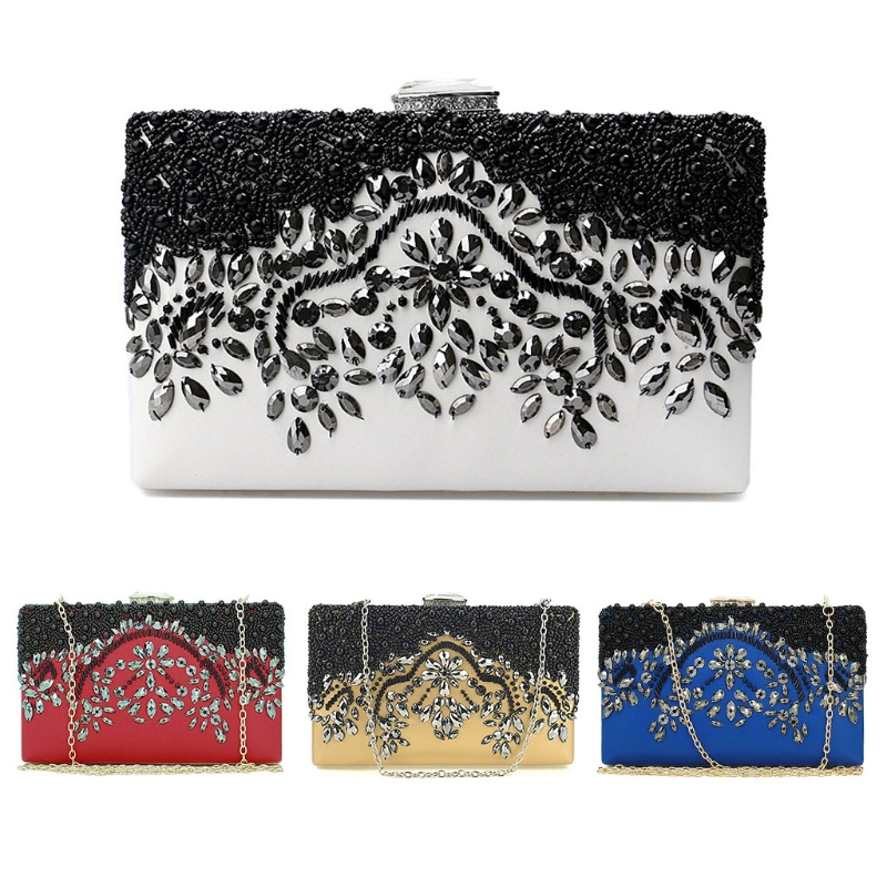 2018 New Fashion Women Bead Bridal Evening Clutch Bag Party Wedding Prom Wallet Purse Handmade Purses and Wallets
