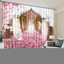 Modern Pink forest scenery Bedroom Living Room Kitchen Home Textile Luxury 3D Window Curtains(China)