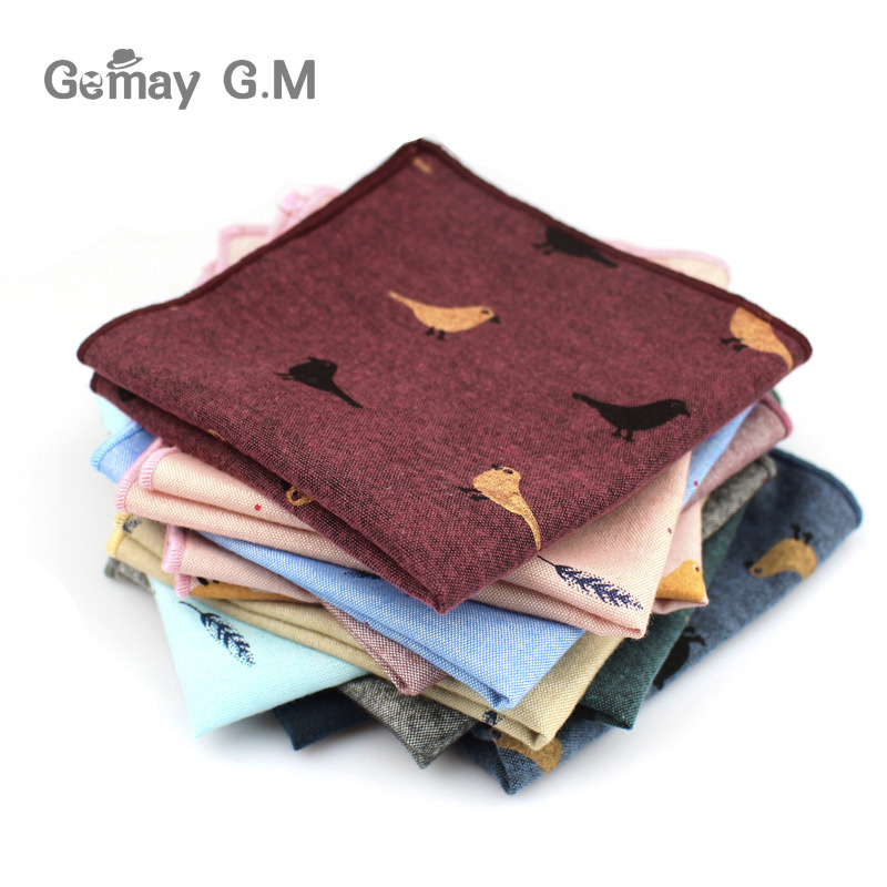 Adult Cotton Handkerchiefs Print Pattern Hanky For Men Business Casual Pockets Square Handkerchief 25cm Width Wedding Hankies