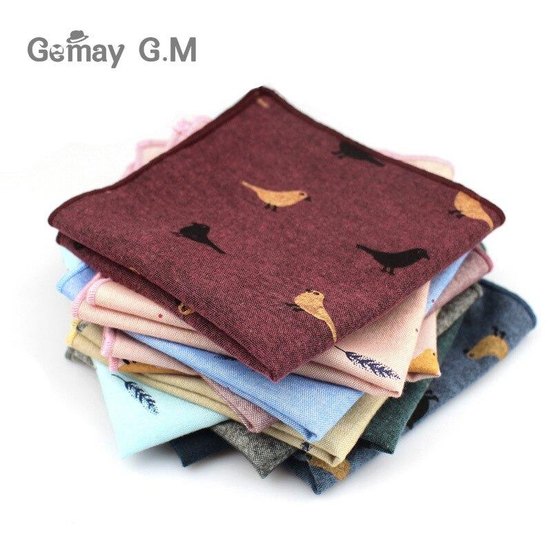 Adult Cotton Handkerchiefs Print Pattern Hanky for Men Business Casual Pockets Square Handkerchief 25cm Width Wedding Hankies(China)