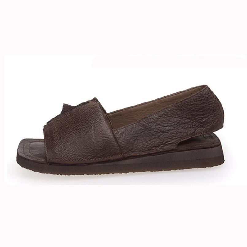 Pour Coffee Chaussures Oxford D'été Sandales Véritable Rétro Z brown Appartements Cuir Femmes Main Casual En vyO8wmnN0