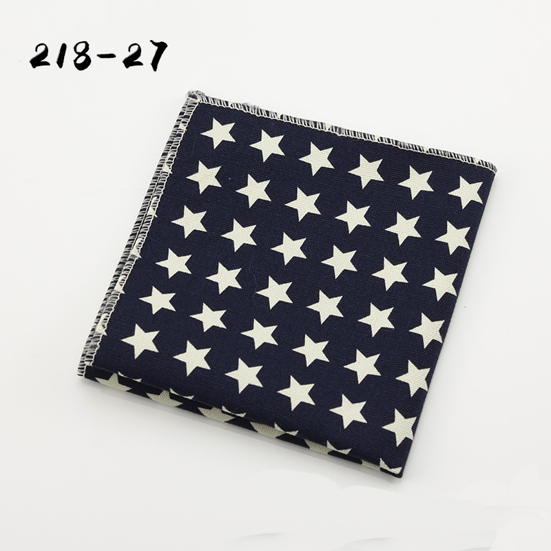 Ikepeibao New Men's Informal Star Flower Print Linen Pocket Square Handkerchiefs Paisley Floral Cotton Hankies 21*21cm