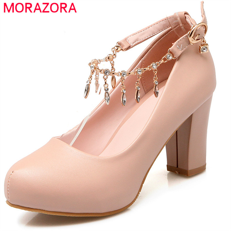 MORAZORA 2018 new spring summer shoes with buckle crystal round toe high heels square heel shallow pumps women shoes 2016 spring and summer free shipping red new fashion design shoes african women print rt 3