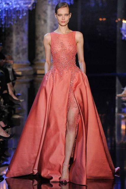 Elie Saab Celebrity Dress Festoneado 2017 Una Línea de Vestidos De Fiesta  Con el Lado Alto 3e6bb464e010
