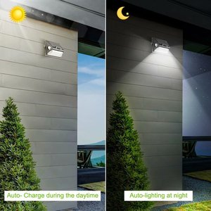 Image 5 - שמש אור חיצוני הכפול PIR חיישן תנועת שמש מופעל מנורת 180 תואר חיישן קיר מנורת RGBW LED עמיד למים גן שמש אור