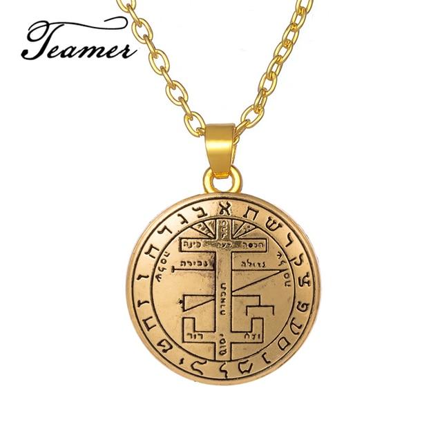US $1 88 5% OFF|Teamer Adjustable Angel Pendant Necklace Jewelry Sigil of  Archangel Gabriel Enochian Supernatural Talisman Amulet Round Pendant-in