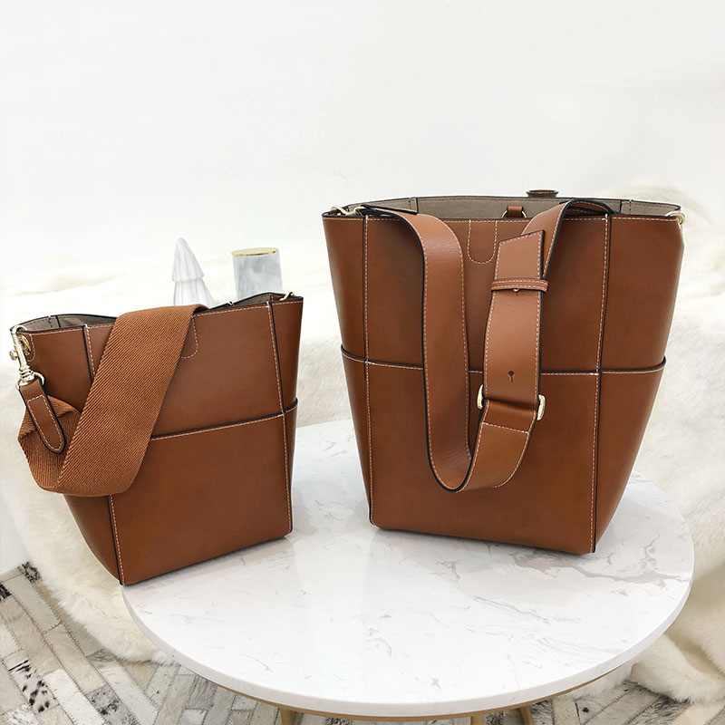 Customized high quality Genuine Leather bags for women 2019 NEW style Cowhide Shoulder Messenger Bucket bagCustomized high quality Genuine Leather bags for women 2019 NEW style Cowhide Shoulder Messenger Bucket bag
