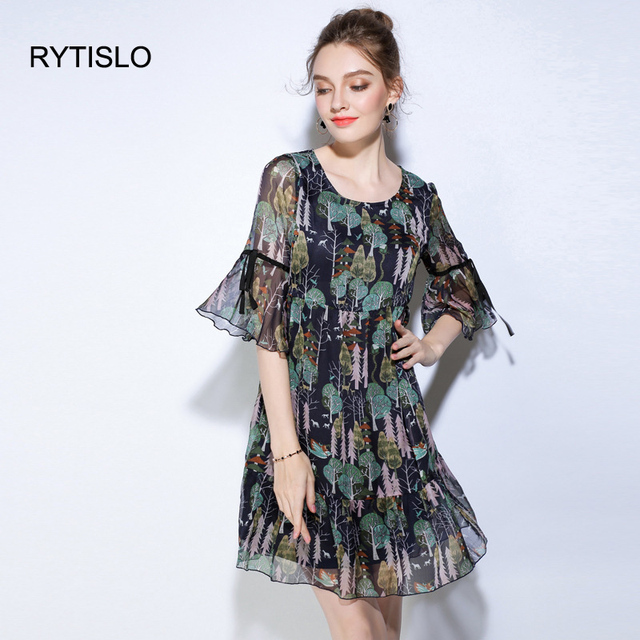 RYTISLO Fashion Vintage Printed Summer Chiffon Dress O-Neck Flare Sleeve  A-Line Leisure Daily Dress For Lady L 2XL 5XL Big Size ec30b0bdfdeb