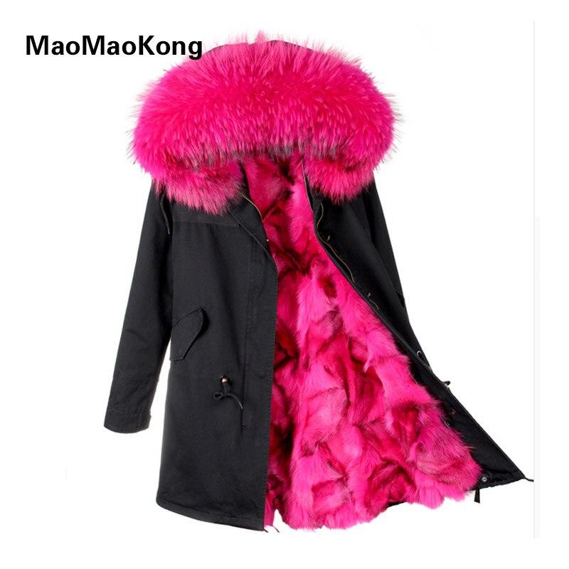 2018 new fashion women luxurious Large raccoon fur collar hooded coat warm Fox fur liner parkas long winter jacket top quality