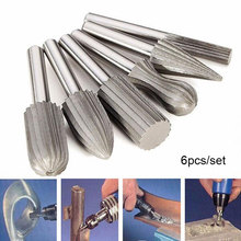 цена на TORO 6Pcs 6mm Shank Universal Silver + Grey Tungsten Steel Rotary File Cutter Engraving Grinding Bit Suitable for Rotary Tools