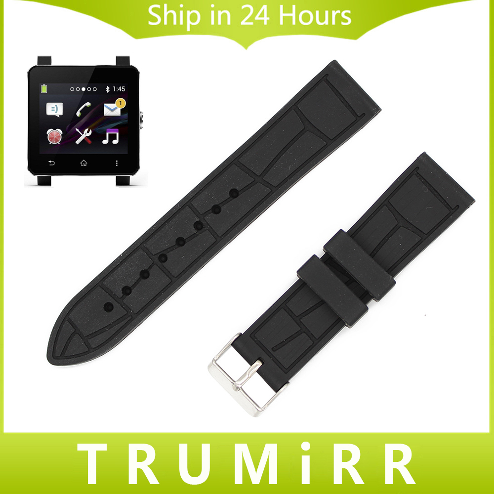 24mm Silicone Rubber Watchband + Tool for Sony Smartwatch 2 SW2 Replacement Strap Smart Watch Band Wrist Belt Bracelet Black 2016 silicone rubber watch band for samsung galaxy gear s2 sm r720 replacement smartwatch bands strap bracelet with patterns