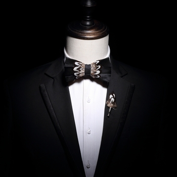 Free Shipping 2019 fashion male man Men's Feather men and women bow tie groom groomsmen wedding dress banquet show host bow set