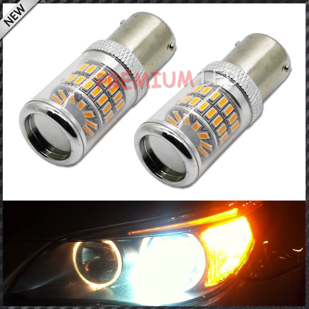 2pcs Amber Yellow Error Free BAU15S 7507 PY21W 1156PY LED Bulbs w/ Reflector Mirror Design For car Front Turn Signal Lights 2pcs canbus bau15s py21w error free 1156py amber yellow 36 led 5730smd 7507 bulbs indicator front rear turn signal light