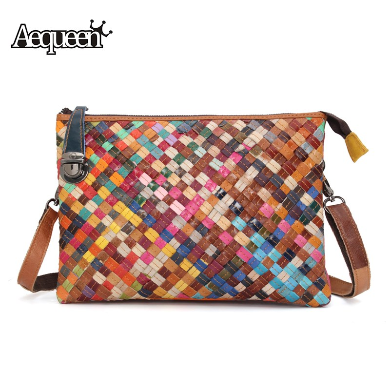 AEQUEEN Genuine Leather Weave Bag Multicolour Crossbody Bag Women Famous Brands Designers Handmade Messenger Bag Womens